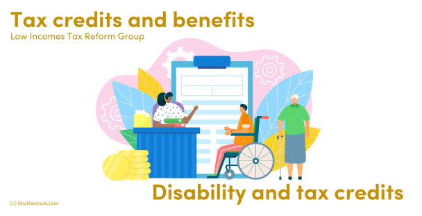 Illustration of a woman sitting at a desk, a man in a wheelchair and woman with a walking stick
