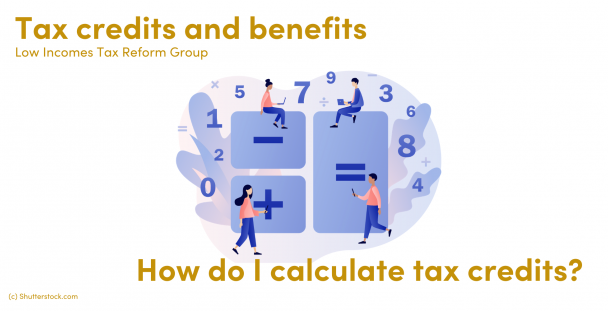 Illustration of people around a calculator