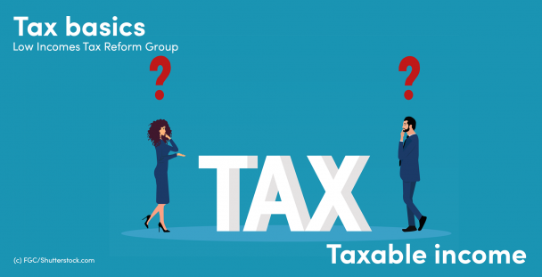Illustration of a man and woman with questions marks above their heads next to the word tax