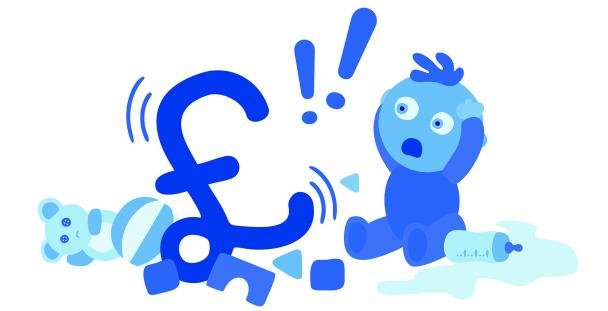 baby sitting by pound sign and toys vector cartoon (c) Shutterstock / Julia XOOXOO Jasiczak