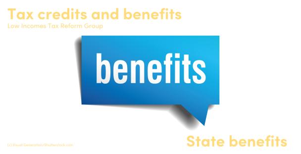 The word benefits written in a speech bubble