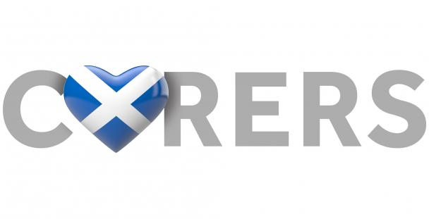 Image of the word carers with a heart with a Scottish flag replacing the A