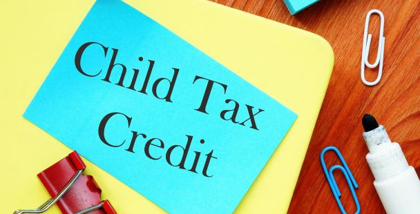 Image of the words child tax credit written on a sticky note