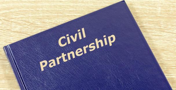 book cover displaying civil partnership wording