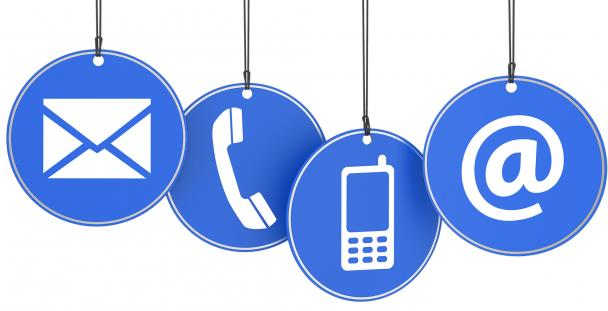 Illustration of letter, telephone, mobile phone and email symbols