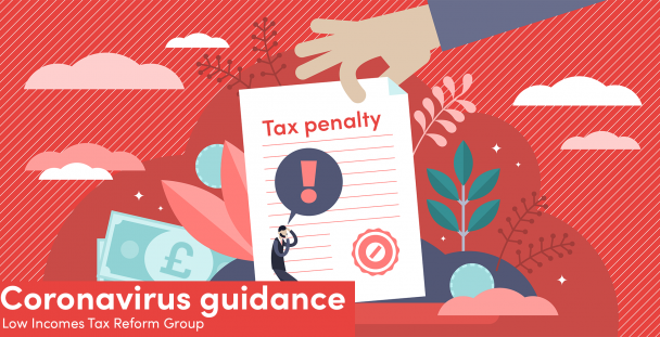 Illustration of a man cowering in front of a tax penalty notice