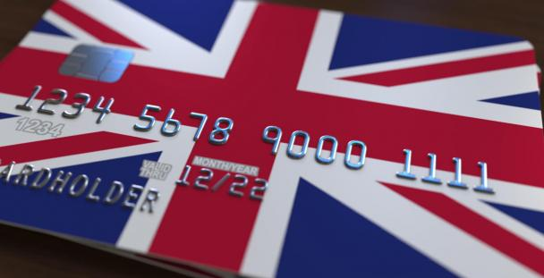 Image of UK debit card showing Union Jack flag