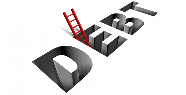 Illustration of the word debt and a ladder