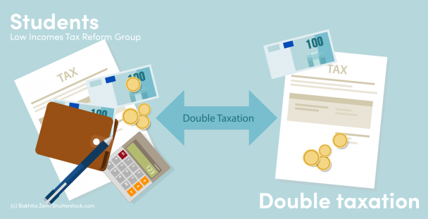 Illustration of coins, calculator and tax forms