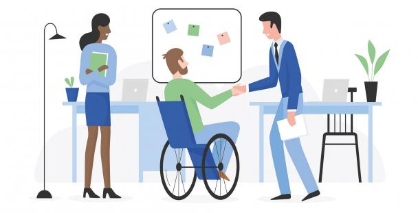 Ilustration of employer welcoming disabled employee