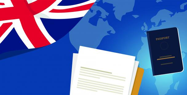 Illustration of the Union Jack, a passport and visa application