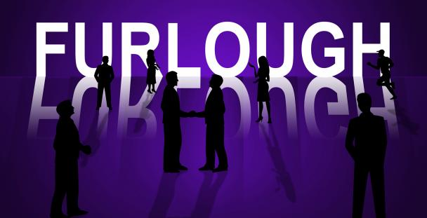 Illustration of silhouettes of people by the word furlough