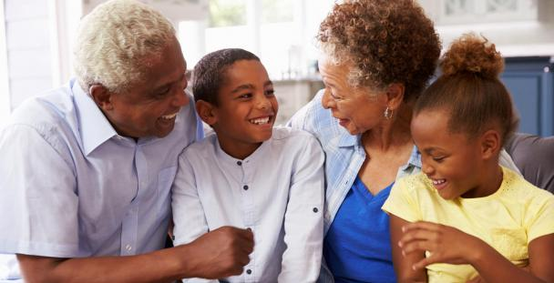 Image of grandparents with their two grandchildren