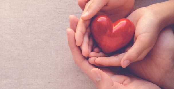 Adult and child hands holding a wooden heart