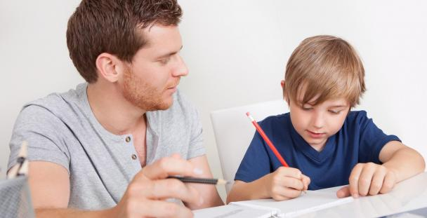 home schooling father and child