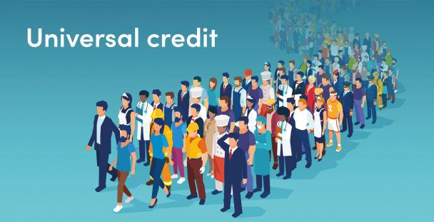 Illustration of a crowd of people with the words universal credit