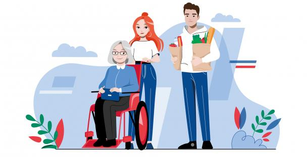 Illustration of a disabled elderly lady and two people assisting her