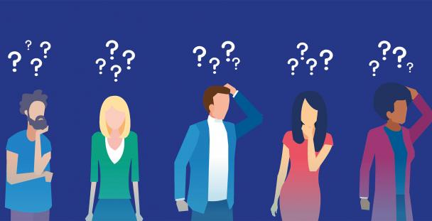 Illustration of people with question marks above their heads