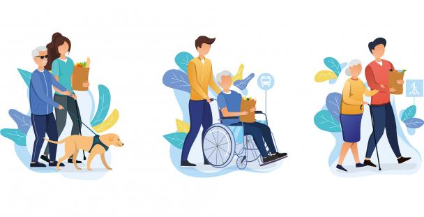 Illustrations of personal assistants and people with disabilities