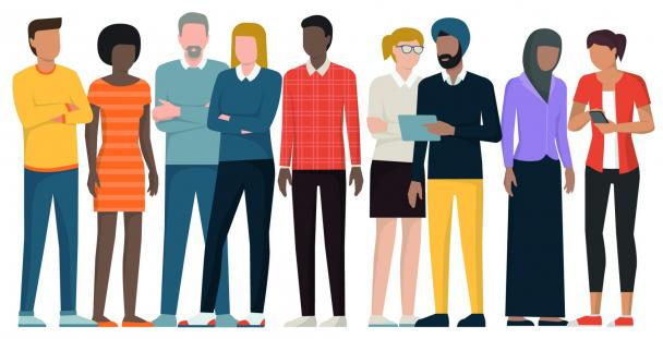 Illustration showing a diverse range of people