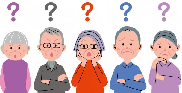 Illustration of elderly people with question marks above their heads
