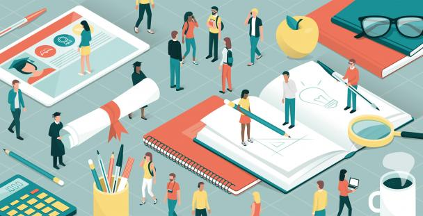 Illustration of students, books and stationery