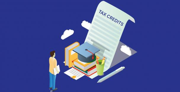 Illustration of a student with a mortar board and tax credit documents