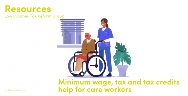 Illustration of an elderly woman in a wheelchair with her carer