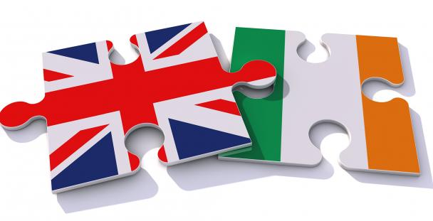 Illustration of the Union Jack and Ireland flags on jigsaw pieces