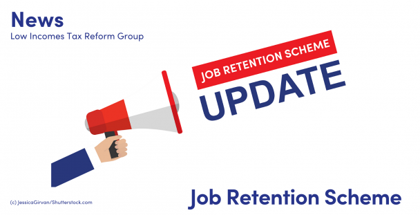 Illustration of a hand holding a megaphone with the words job retention scheme update