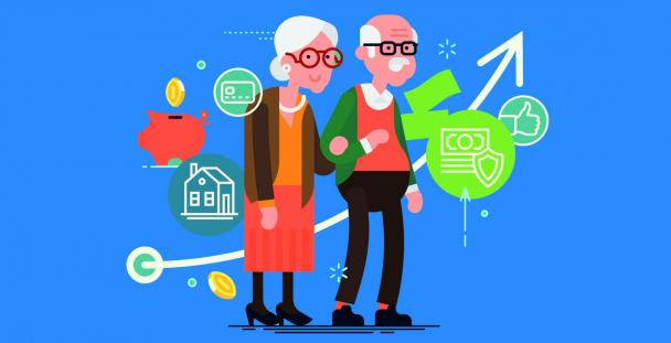 Male and female pensioners surrounded by financial icons