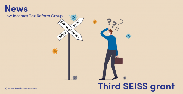 Image of a man looking confused next to a SEISS self-employment sign