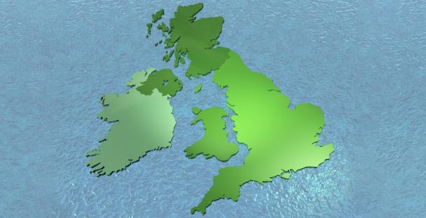 Map of the UK split into different shades of green to illustrate devolution