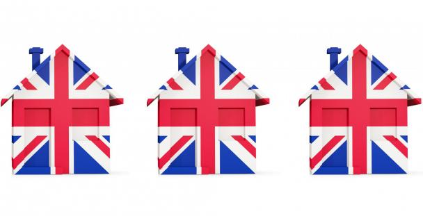 Image of miniature houses covered in Union Jack flags