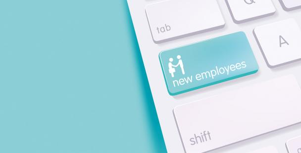 Illustration of a new employees button on a keyboard