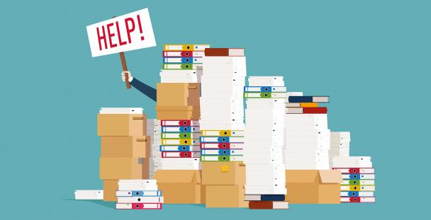 Illustration of a person holding a help sign behind piles of paperwork