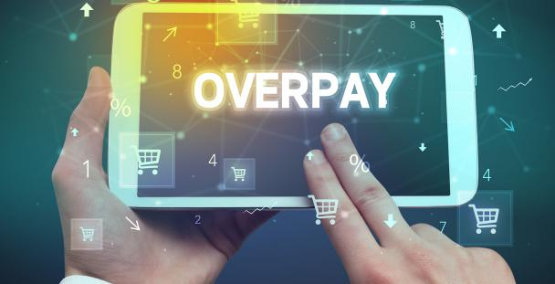 Image of a tablet with the word overpay on the screen
