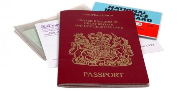 UK passport, National Insurance card, medical card, driving licence