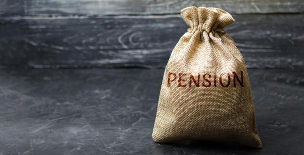 the word pension on a money bag