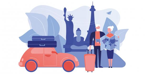 Illustration of pensioners travelling abroad on their retirement