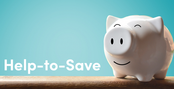 Image of a piggy bank and the words help to save