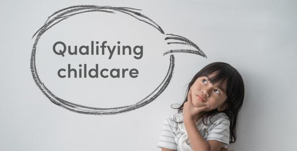 Image of a girl with a speech bubble with the words qualifying childcare