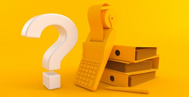 Image of a question mark, calculator and pile of folders