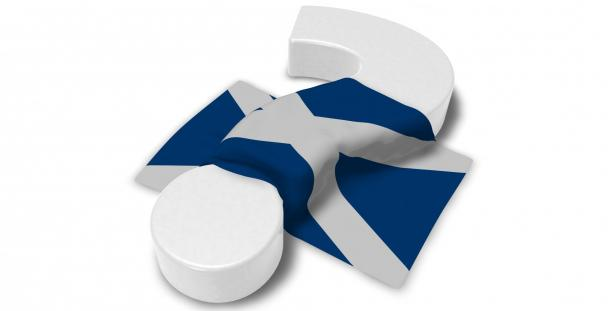 Image of question mark with Scottish flag draped over it