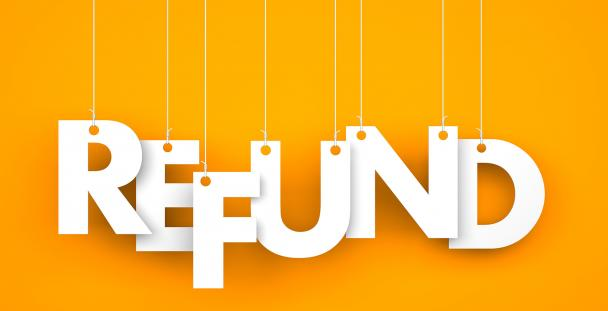 Image of the word refund attached to pieces of string