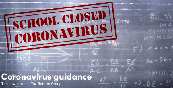 Image of a blackboard with the sign school close coronavirus