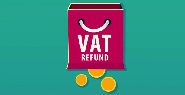 Illustration of VAT refund shopping bag and coins