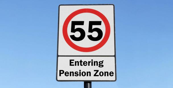 Road sign signalling age 55 entering pension zone