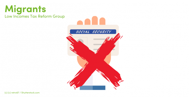 Illustration of a hand holding a social security card with a cross over it