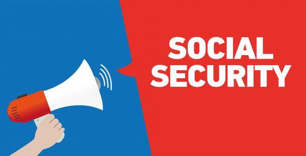 Illustration of a hand holding a megaphone with the words social security